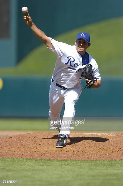 Joel Peralta of the Kansas City Royals pitches during the game against the Minnesota Twins at Kauffman Stadium in Kansas City Missouri on April 27...