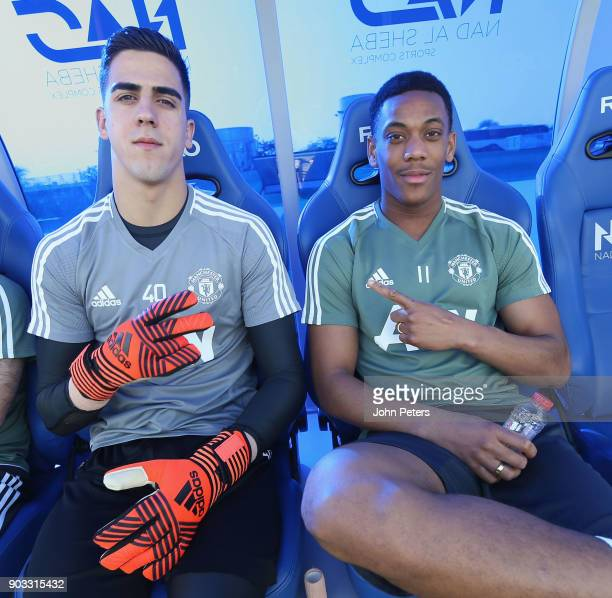 Joel Pereira and Anthony Martial of Manchester United in action during a first team training session at Nad Al Sheba Sports Complex on January 10...