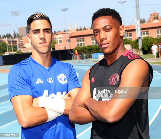 Joel Pereira and Anthony Martial of Manchester United pose together during a Manchester United preseason training session at UCLA on July 16 2018 in...