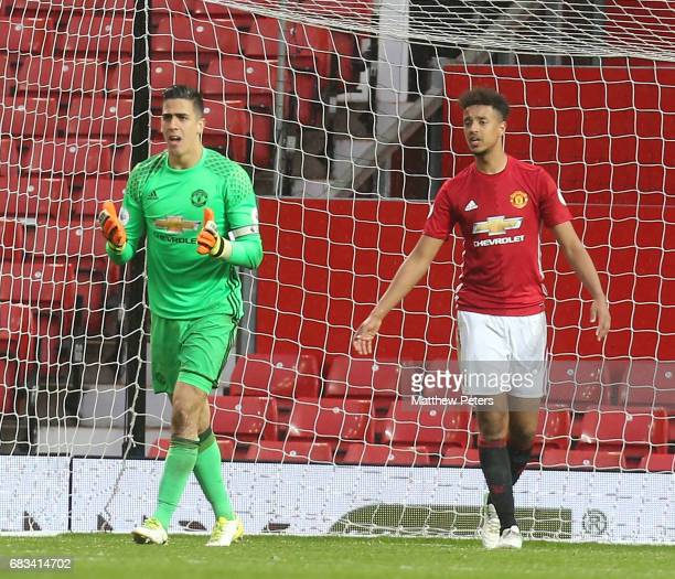 Joel Pereira and Cameron BorthwickJackson of Manchester United U23s react to Samuel Shashoua of Tottenham Hotspur scoring their second goal during...