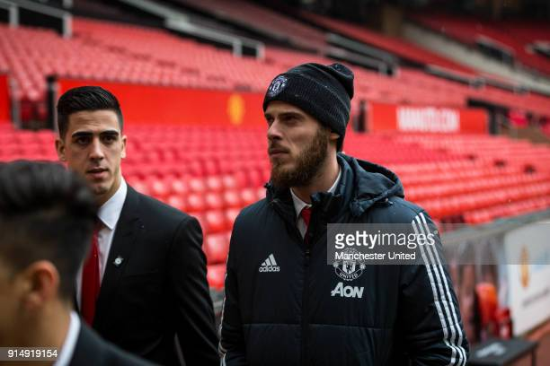 Joel Pereira and David de Gea of Manchester United attend a service to commemorate the 60th anniversary of the Munich Air Disaster at Old Trafford on...