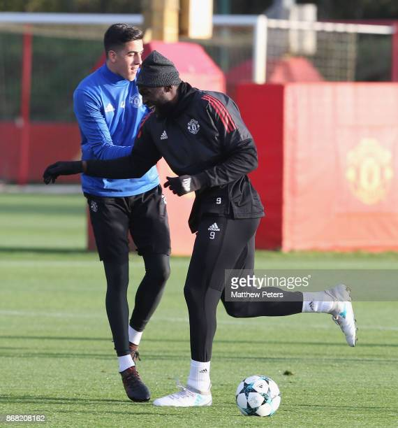 Joel Pereira and Romelu Lukaku of Manchester United in action during a training session at Aon Training Complex on October 30 2017 in Manchester...