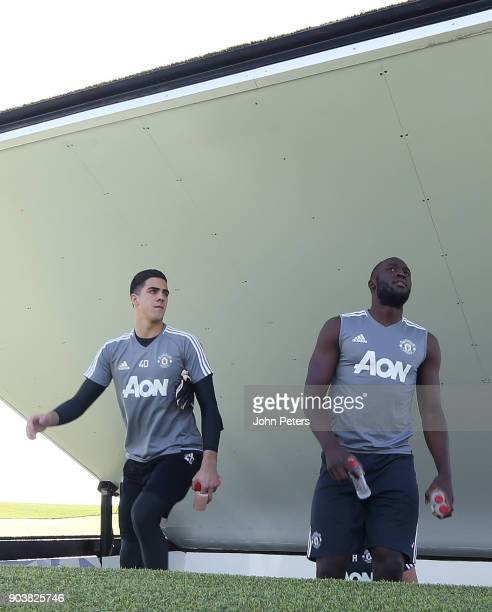 Joel Pereira and Romelu Lukaku of Manchester United in action during a first team training session at Nad Al Sheba Sports Complex on January 11 2018...