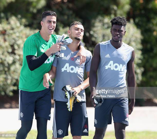 Joel Pereira Andreas Pereira and Axel Tuanzebe of Manchester United in action during a first team training session as part of their preseason tour of...