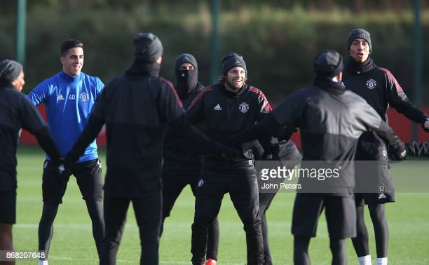 Joel Pereira Daley Blind and Chris Smalling of Manchester United in action during a training session at Aon Training Complex on October 30 2017 in...