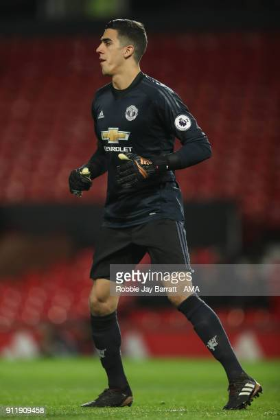 Joel Pereira of Manchester United during the Premier League 2 match between Manchester United and Tottenham Hotspur at Old Trafford on January 29...