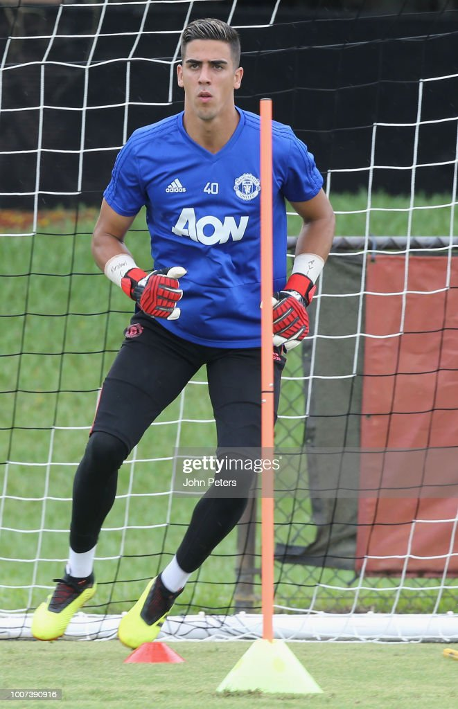 Joel Pereira of Manchester United in action during a first team training session as part of their pre-season tour of the USA at Barry University on July 29, 2018 in Miami, Florida.