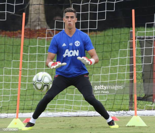 Joel Pereira of Manchester United in action during a first team training session as part of their preseason tour of the USA at Barry University on...