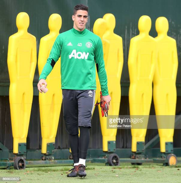 Joel Pereira of Manchester United in action during a first team training session at Aon Training Complex on October 26 2017 in Manchester England
