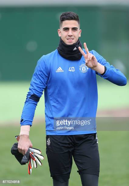 Joel Pereira of Manchester United in action during a first team training session at Aon Training Complex on November 21 2017 in Manchester England