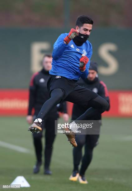 Joel Pereira of Manchester United in action during a first team training session at Aon Training Complex on December 4 2017 in Manchester England