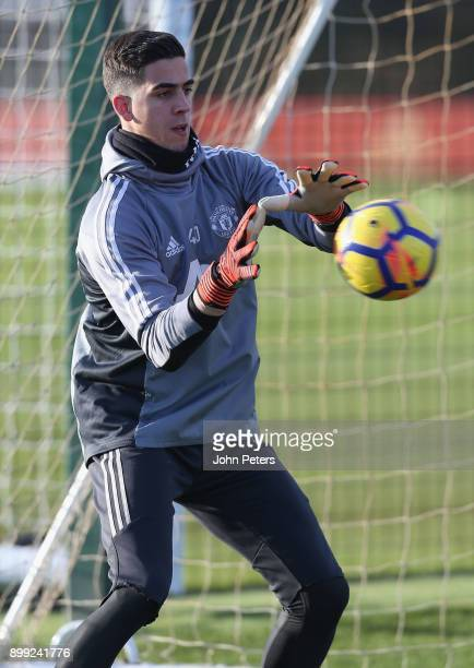 Joel Pereira of Manchester United in action during a first team training session at Aon Training Complex on December 28 2017 in Manchester England