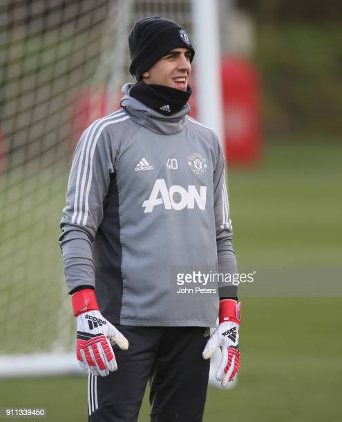Joel Pereira of Manchester United in action during a first team training session at Aon Training Complex on January 28 2018 in Manchester England