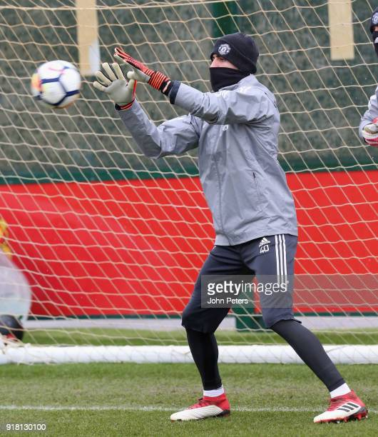 Joel Pereira of Manchester United in action during a first team training session at Aon Training Complex on February 14 2018 in Manchester England
