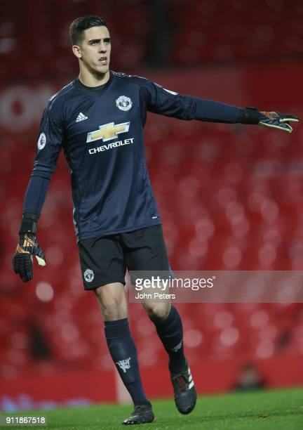 Joel Pereira of Manchester United U23s in action during the Premier League 2 match between Manchester United U23s and Tottenham Hotspur U23s at Old...