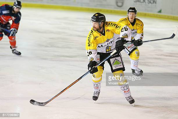 Joel Perrault of Roeun during the Ice hockey Ligue Magnus Final second game between Les Ducs d'Angers v Les Dragons de Rouen on March 23 2016 in...