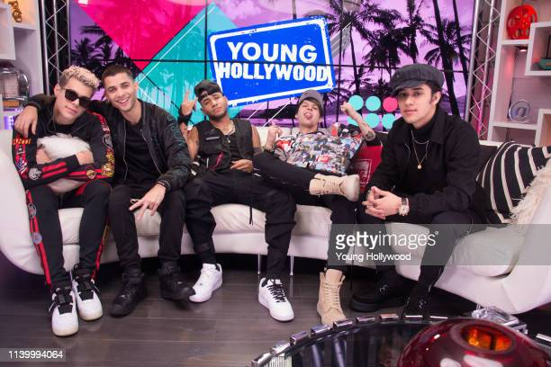 Joel Pimentel Richard Camacho Erick Brian Colón Christopher Vélez and Zabdiel De Jesús from CNCO visit the Young Hollywood Studio on March 29 2019 in...