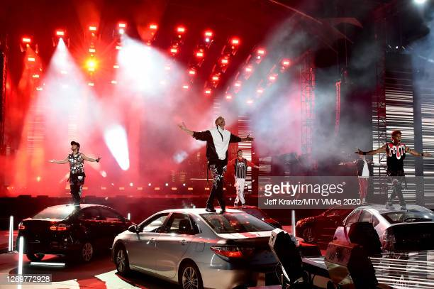 Joel Pimentel, Zabdiel De Jesus, Christopher Velez, Erick Brian Colon and Richard Camacho of CNCO the 2020 MTV Video Music Awards at the Skyline...