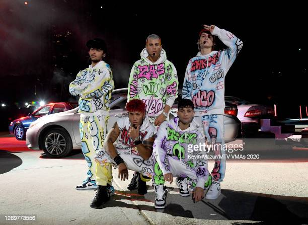 Joel Pimentel, Zabdiel De Jesus, Christopher Velez, Richard Camacho and Erick Brian Colon of CNCO perform at the 2020 MTV Video Music Awards, at the...