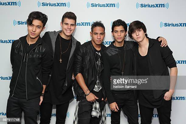Joel Pimentel Zabdiel De Jesus Richard Camacho Erick Brian Colon and Christopher Velez of the band CNCO visit the SiriusXM Studio on August 30 2016...