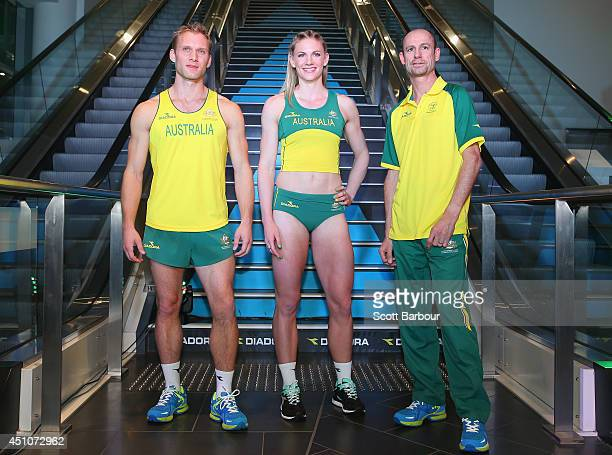 Joel Pocklington Melissa Breen and Steve Moneghetti pose during the unveiling of the Australian Commonwealth Games competition uniform at the Diadora...