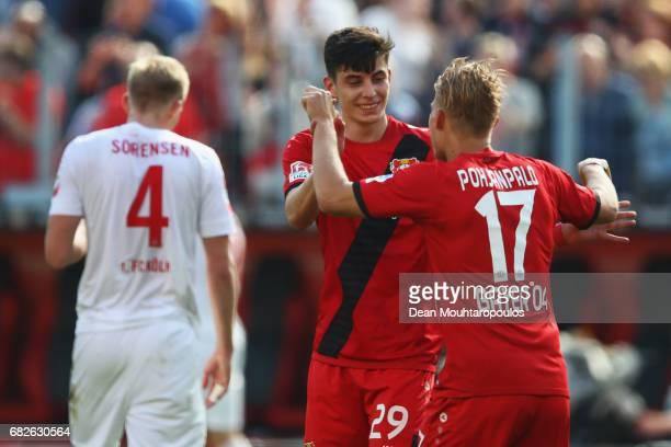 Joel Pohjanpalo of Bayer 04 Leverkusen celebrates scoring his teams second goal of the game with team mate Kai Havertz during the Bundesliga match...