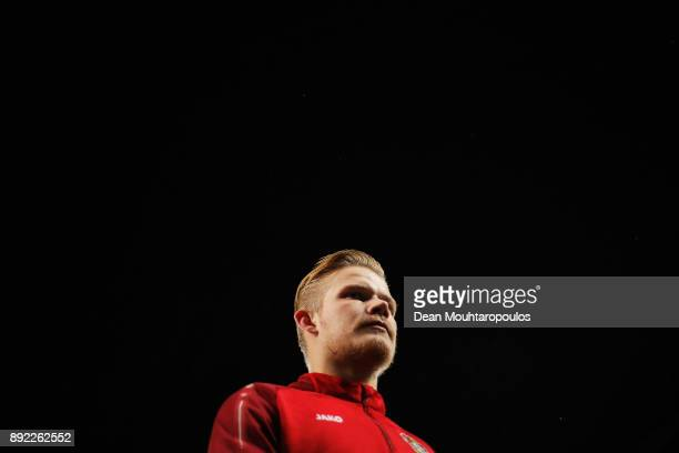 Joel Pohjanpalo of Bayer 04 Leverkusen looks on prior to the Bundesliga match between Bayer 04 Leverkusen and SV Werder Bremen at BayArena on...