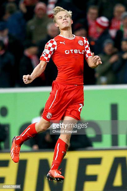 Joel Pohjanpalo of Duesseldorf celebrates the second goal during the Second Bundesliga match between Fortuna Duesseldorf and Greuther Fuerth at...