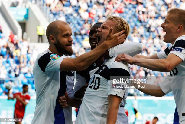 Joel Pohjanpalo of Finland celebrates a goal which is later disallowed by VAR for offside during the UEFA Euro 2020 Championship Group B match...