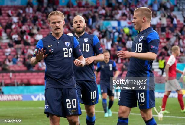 Joel Pohjanpalo of Finland celebrates after scoring their side's first goal during the UEFA Euro 2020 Championship Group B match between Denmark and...
