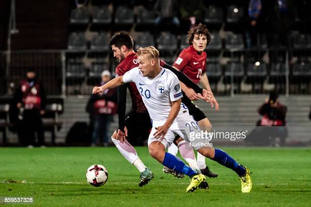 Joel Pohjanpalo of Finland during the FIFA World Cup 2018 qualification football match between Finland and Turkey in Turku Finland on October 9 2017