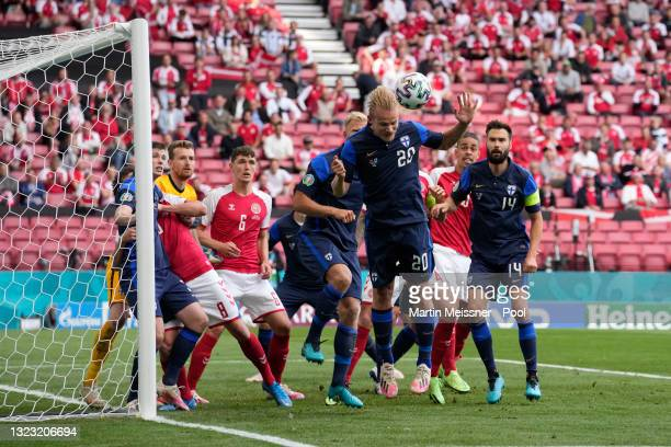 Joel Pohjanpalo of Finland heads the ball away during the UEFA Euro 2020 Championship Group B match between Denmark and Finland on June 12, 2021 in...