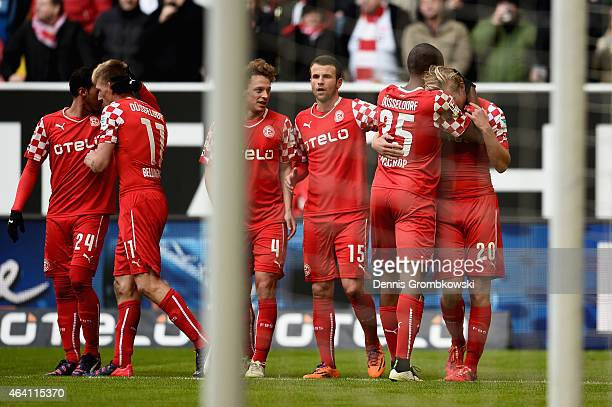 Joel Pohjanpalo of Fortuna Duesseldorf celebrates with team mates as he scores the opening goal during the Second Bundesliga match between Fortuna...