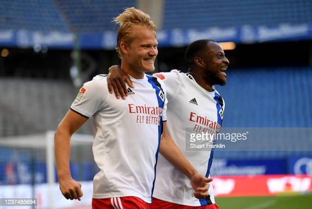 Joel Pohjanpalo of Hamburg celebrate with team mate David Kinsombi after he scores his teams 2nd goal during the Second Bundesliga match between...