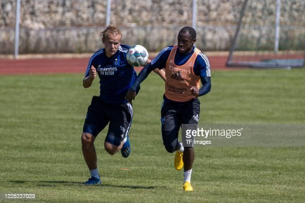 Joel Pohjanpalo of Hamburger SV and David Kinsombi of Hamburger SV during the training session of Hamburger SV on May 16 2020 in Herzogenaurach...