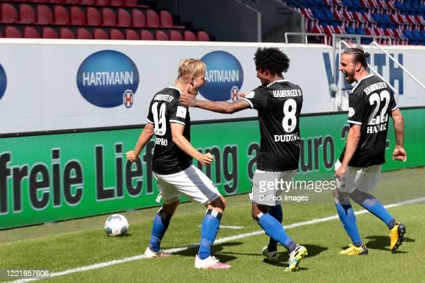 Joel Pohjanpalo of Hamburger SV, Jeremy Dudziak of Hamburger SV and Martin Harnik of Hamburger SV celebrates after scoring his team's first goal with...