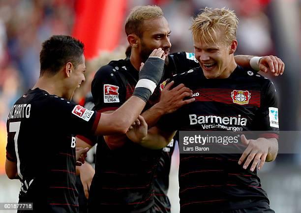 Joel Pohjanpalo of Leverkusen celebrates after scoring his teams second goal during the Bundesliga match between Bayer 04 Leverkusen and Hamburger SV...