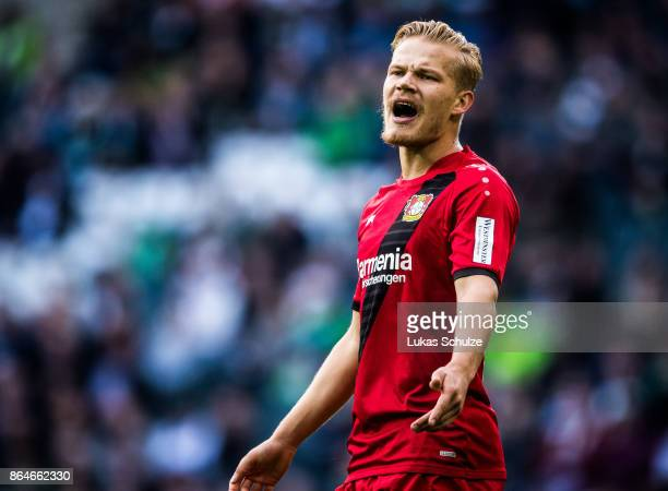 Joel Pohjanpalo of Leverkusen gestures during the Bundesliga match between Borussia Moenchengladbach and Bayer 04 Leverkusen at BorussiaPark on...