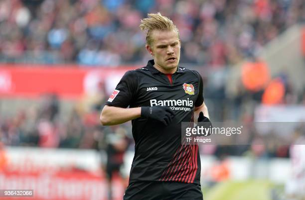 Joel Pohjanpalo of Leverkusen looks on during the Bundesliga match between 1 FC Koeln and Bayer 04 Leverkusen at RheinEnergieStadion on March 18 2018...