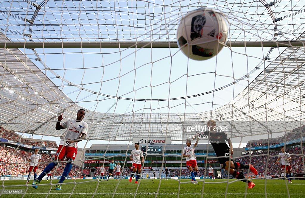 Joel Pohjanpalo of Leverkusen scores his teams first goal during the Bundesliga match between Bayer 04 Leverkusen and Hamburger SV at BayArena on September 10, 2016 in Leverkusen, Germany.