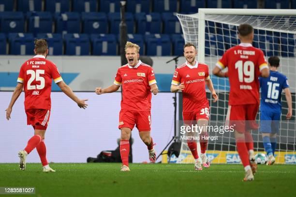 Joel Pohjanpalo of Union Berlin celebrates scoring the 2nd team goal with his team mate during Christopher Lenz the Bundesliga match between TSG...