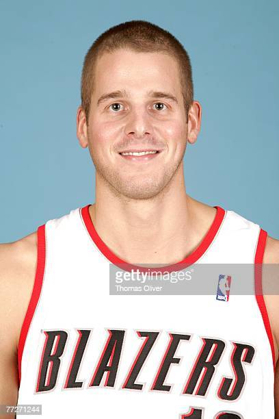 Joel Przybilla of the Portland Trail Blazers poses for a portrait during NBA Media Day at the Rose Garden on October 1 2007 in Portland Oregon NOTE...