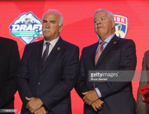 Joel Quenneville and Dale Tallon of the Florida Panthers attend the 2019 NHL Draft at the Rogers Arena on June 21, 2019 in Vancouver, Canada.
