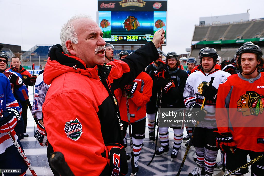 Joel Quenneville head coach of the Chicago Blackhawks instructs both the Blackhawks and the Wounded Warrior hockey team during practice day for the 2016 Coors Light Stadium Series game against the Minnesota Wild at TCF Bank Stadium on February 20, 2016 in Minneapolis, Minnesota.