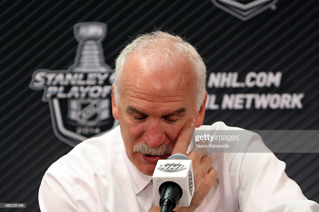 Joel Quenneville head coach of the Chicago Blackhawks speaks to the media during a press conference after Game Seven of the Western Conference Final in the 2014 Stanley Cup Playoffs at United Center on June 1, 2014 in Chicago, Illinois.