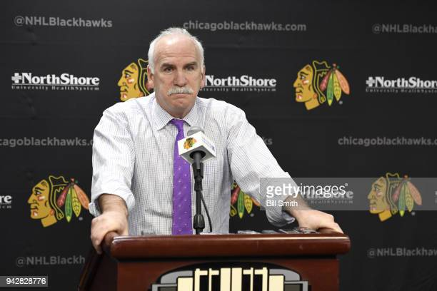 Joel Quenneville head coach of the Chicago Blackhawks speaks to the press after the 41 loss to the St Louis Blues at the United Center on April 6...