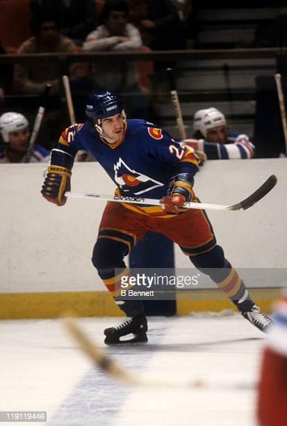 Joel Quenneville of the Colorado Rockies skates on the ice during an NHL game against the New York Rangers on January 14 1980 at the Madison Square...