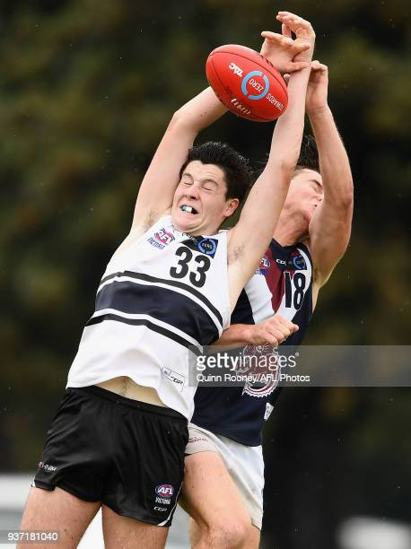 Joel Randall of the Knights marks during the round one TAC Cup match between Northern Knights and Sandringham at Frankston Oval on March 24 2018 in...