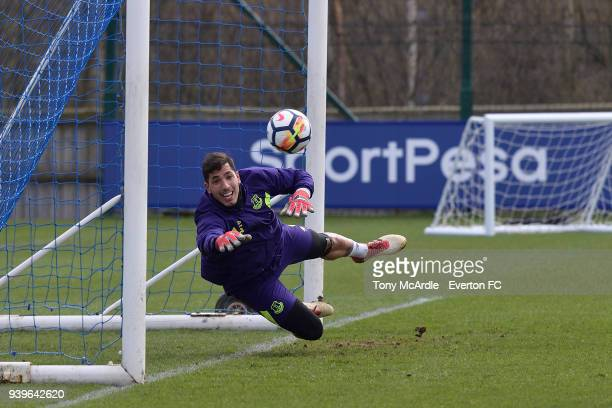Joel Robles during the Everton FC training session at USM Finch Farm on March 29 2018 in Halewood England