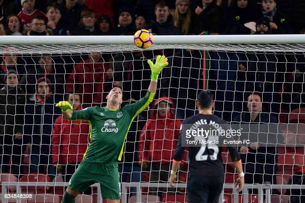 Joel Robles makes a save during the Premier League match between Middlesbrough and Everton at the Riverside Stadium on February 11 2017 in...